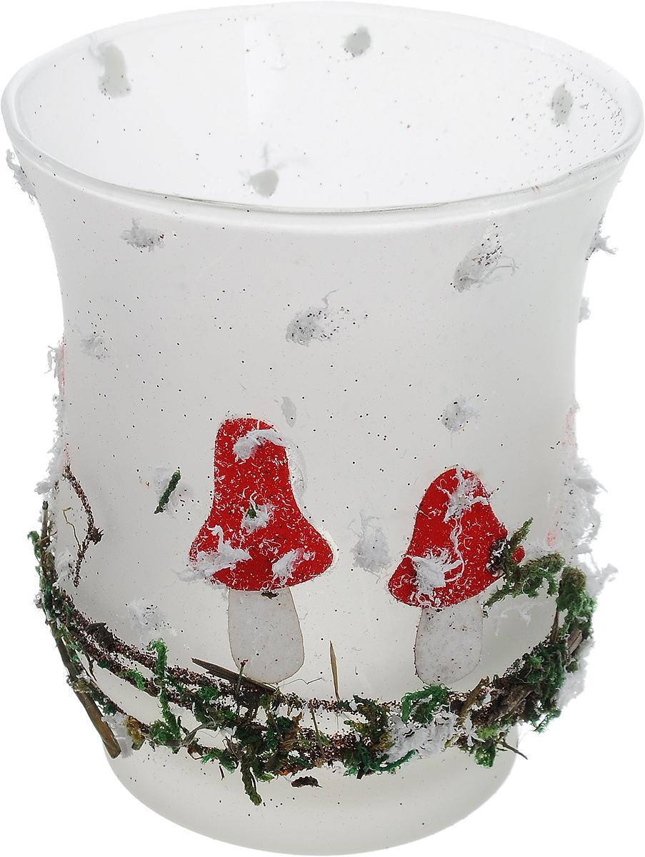 Подсвечник новогодний Winter Wings Мухомор, 8,5 х 7,5 см новогодний декоративный подсвечник winter wings домик со свечой цвет белый красный 6 см х 8 см х 11 см