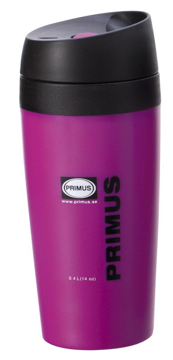 Термокружка Primus Commuter Mug, цвет: пурпурный, 400 мл737908Простой замок переключатель, изоляция с двойными стенками сохранит Ваш напиток холодным или горячим на вашем пути на работу или у костра. Компактная конструкция занимает минимум места и поместится в подстаканнике автомобиля.