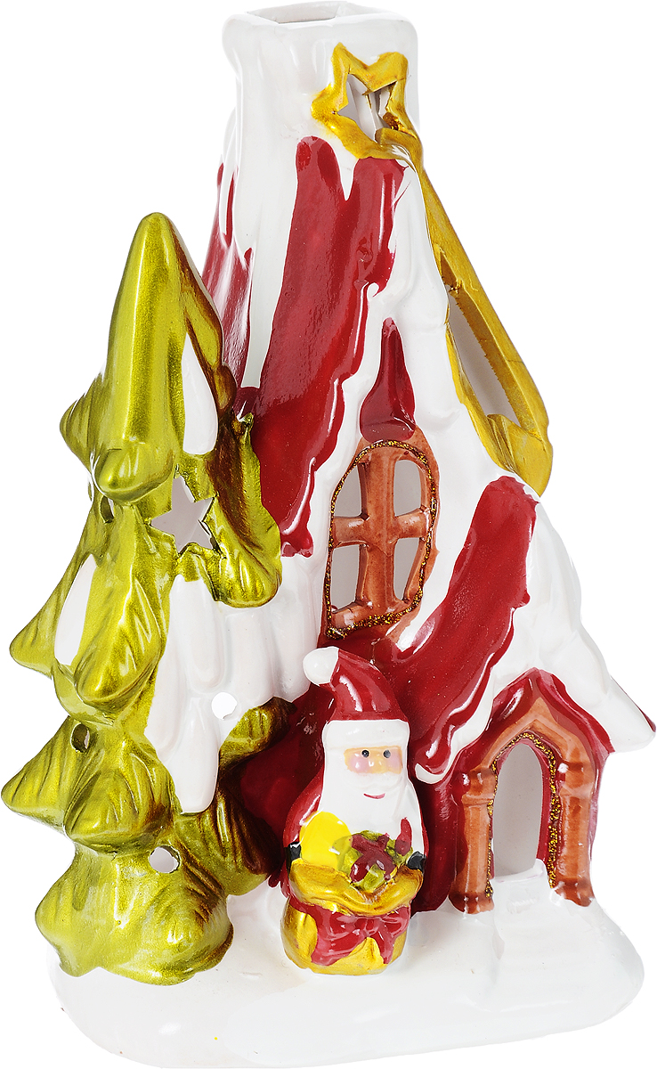 Подсвечник новогодний Winter Wings Дом Деда Мороза, 10 х 10 х 17,5 см новогодний декоративный подсвечник winter wings домик со свечой цвет белый красный 6 см х 8 см х 11 см