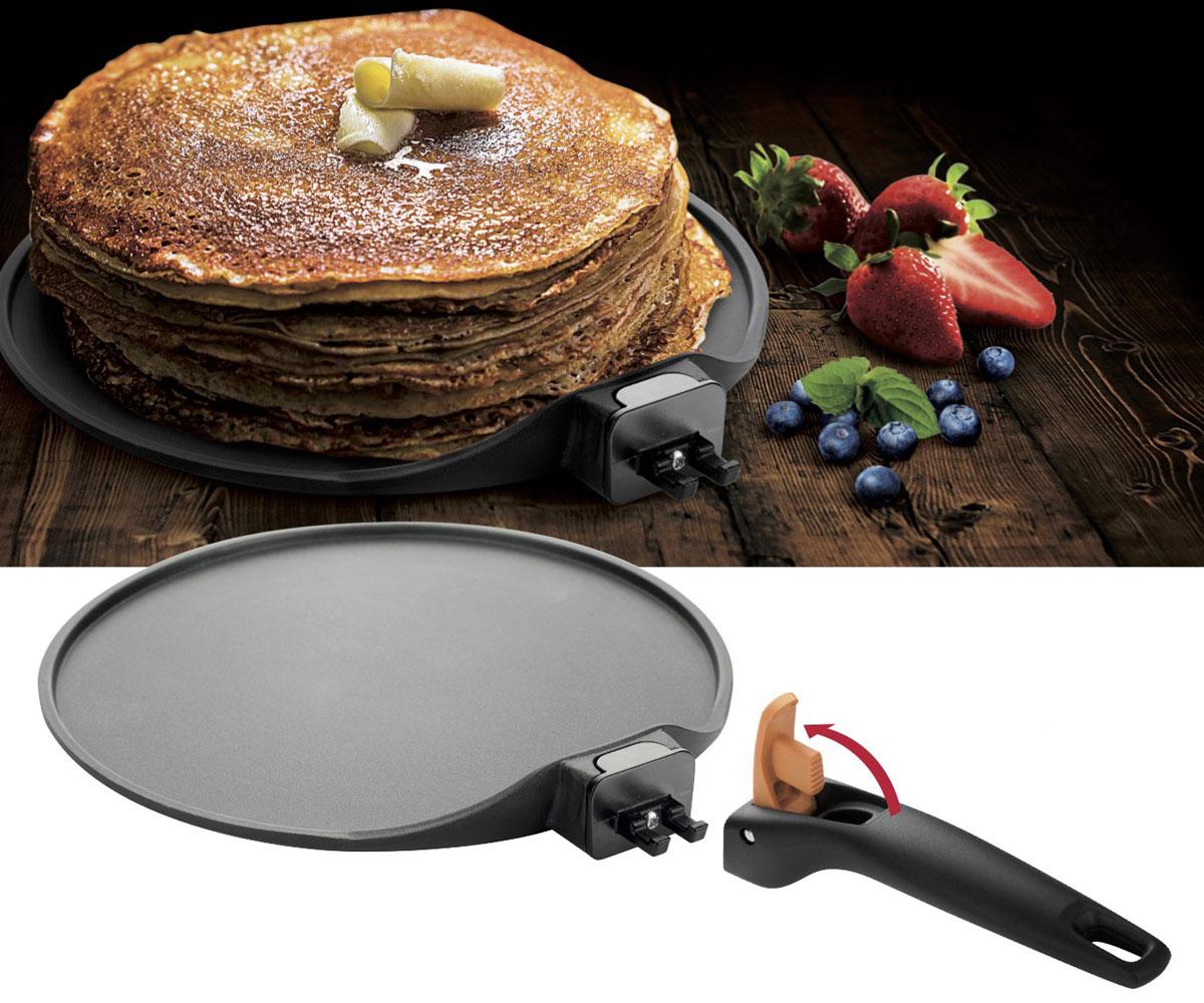 Сковорода для блинов Tescoma Smart Click, с антипригарным покрытием, со съемной ручкой. Диаметр 26 см68/5/3Сковорода Tescoma Smart Click изготовлена из нержавеющей стали с качественным антипригарным покрытием, которое препятствует пригоранию. Отличные антипригарные свойства покрытия позволяют готовить практически без масла, что делает ваши блюда менее жирными и калорийными. Идеально плоская поверхность с низкой кромкой подходит для приготовления блинчиков и яичницы. Эргономичная съемная ручка изготовлена из прочного пластика. Подходит для электрических, газовых видов плит и конвекторных печей, кроме индукционных. А также можно использовать в посудомоечной машине. Диаметр сковороды: 26 см.Высота стенки: 1,5 см.