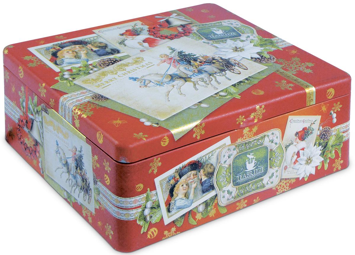 Teabreeze С Рождеством! Новогодний подарочный набор чая, 100 г100108_рыбкаНовогодний подарочный набор чайная шкатулка С Рождеством. Чай Волшебная ночь: Основу чая составляет смесь из цейлонского черного чая и китайского зеленого чая Сенча. К ним добавлены лепестки розы и подсолнечника, плоды шиповника, ароматные кусочки папайи, а также натуральные масла дыни, земляники, абрикоса и душистой смородины. Бархатный вкус и пленительный фруктовый аромат этого чая напоминают о купающихся в душистых сумерках южных садах.Чай Очарование востока: Этот чай заключает в себе все тайны Востока и сказки чаровницы Шахерезады. Смесь из черных и зеленых чаев, главными нотами которой являются ароматы лепестков розы и жасмина, мягко погружает вас в негу и абсолютное душевное спокойствие. В состав чая также входят календула и сафлор, словно для того, чтобы найти в себе силы очнуться от умиротворяющего воздействия этого удивительного чая. Подарите себе истинное наслаждение!Ситечко-ложка в виде сердца из нержавеющей стали. Фарфоровая чашка.