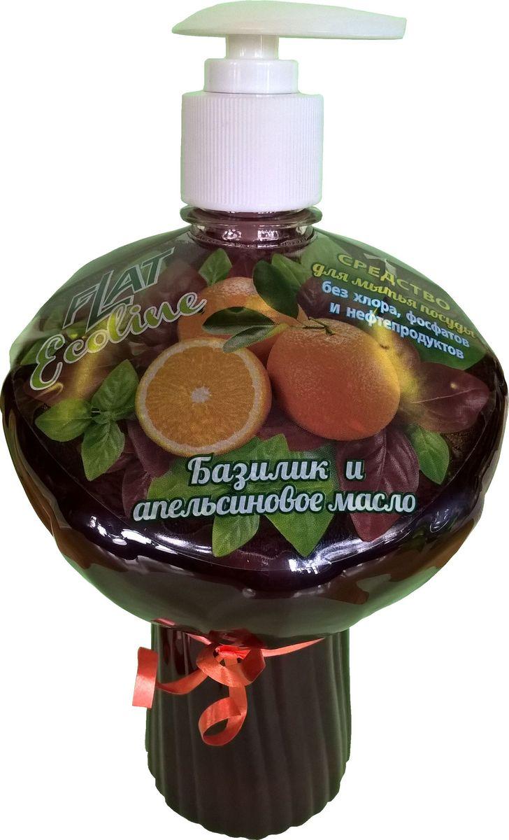 Гель для мытья посуды Flat Ecoline, базилик и апельсиновое масло, 750 мл392753Гель для посуды ECOLINE прекрасно моет посуду в воде любой жесткости и температуры, растворчяет жиры, не оставляет разводов и пятен, не раздражает кожу рук