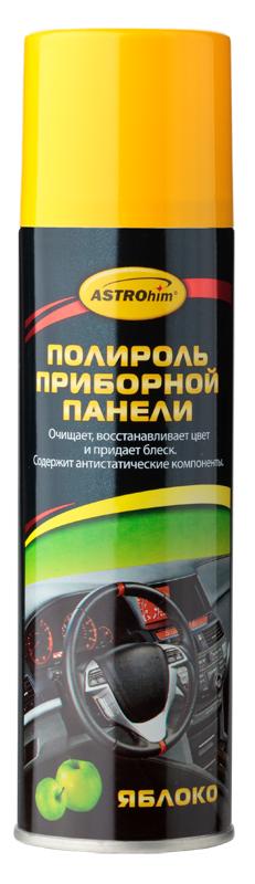 Полироль приборной панели ASTROhim Яблоко, 335 млRC-100BWCПолироль ASTROhim Яблоко эффективно очищает и полирует элементы интерьера автомобиля из пластика, винила, резины и кожзаменителя. Придает эффектный глянцевый блеск. Образует на поверхности тонкую полимерную пленку, которая защищает от разрушительного действия ультрафиолетового излучения, предотвращает выгорание и растрескивание пластика. Восстанавливает цвет пластиковой отделки.Предотвращает притягивание пыли к приборной панели, так как содержит антистатические компоненты. Обладает приятным ароматом.Не оставляет жирной и липкой пленки. Не содержит спирт, поэтому безопасен для всех видов пластика.Товар сертифицирован.Уважаемые клиенты! Обращаем внимание на тот факт, что дизайн товара может отличаться от представленного на фото.