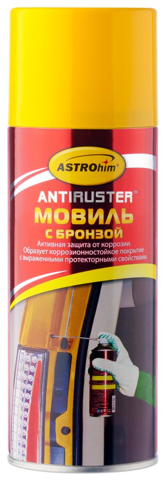 Мовиль Astrohim, с бронзой, аэрозоль, 520 млHG 5730Придает поверхности дополнительную антикоррозионную защиту за счет содержания в составе металлического бронзового порошка.Рекомендуется использовать при обработке участков подвергающихся наибольшему воздействию окружающей среды.Создает гелеобразное эластичное покрытие, стабильное в широком интервале рабочих температур – не стекает с вертикальных поверхностей при нагревании и не растрескивается при перепадах температур.После высыхания образует нелипкую полутвердую пленку с дополнительной прочностью.Наноситсякак на влажную, так и на ржавую поверхность, а также на старые антикоррозионные покрытия.Сохраняет высокие защитные антикоррозионные свойства в течение всего времени эксплуатации автомобиля.Мовиль Astrohim Ас-4815 с бронзой, аэрозоль, 520 мл