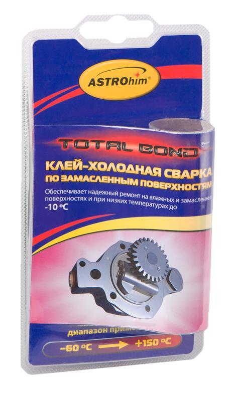 Клей-холодная сварка Astrohim, по замасленным поверхностям, 55 гАС-9301Клей по замасленным поверхностям предназначен для быстрого и надежного склеивания, ремонта деталей, герметизации соединений и емкостей, поверхность которых сложно или невозможно очистить от масляных загрязнений. Применяется также для восстановления утраченных фрагментов изделий из черных и цветных металлов, пластмасс, керамики, дерева, работающих при температурах от -60 ?С до +150 С.Обеспечивает надежный ремонт на влажных и замасленных поверхностях, при низких температурах (до -10 °С, при условии замешивания смеси в теплом помещении).