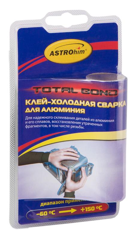 Клей-холодная сварка ASTROhim, для алюминия, 55 г787502Клей-холодная сварка ASTROhim предназначен для быстрого и надежного склеивания, ремонта деталей и узлов, герметизации соединений и емкостей, для восстановления утраченных фрагментов изделий из алюминия и его сплавов, в том числе с разнородными материалами в различных комбинациях (сталь, дерево, керамика). Температура эксплуатации отремонтированных изделий от -60°С до +150°С. Товар сертифицирован.