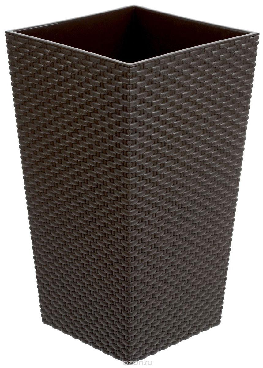 Кашпо Idea Ротанг, со вставкой, цвет: коричневый, 13,5 х 13,5 х 25 смМ 3085Кашпо Idea Ротанг изготовлено из высококачественного пластика с плетеной текстурой.В комплекте пластиковая вставка, которая вставляется в кашпо.Такое кашпо прекрасно подойдет для выращивания растений и цветов в домашних условиях. Лаконичный дизайн впишется в интерьер любого помещения. Размер кашпо: 13,5 см х 13,5 см х 25 см. Размер вставки: 13,5 см х 13,5 см х 13 см.