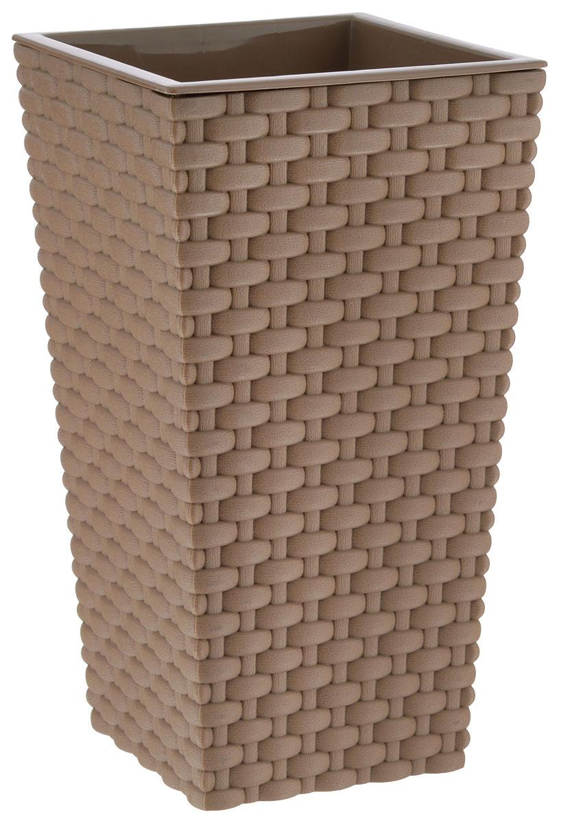 Кашпо Idea Ротанг, цвет: бежевый, 26 х 26 х 45,7 см531-304Кашпо Idea Ротанг изготовлено из прочного пластика с эффектом плетения. Изделие прекрасно подходит для выращивания растений и цветов в домашних условиях. Устанавливается на пол. Стильный современный дизайн органично впишется в интерьер помещения.