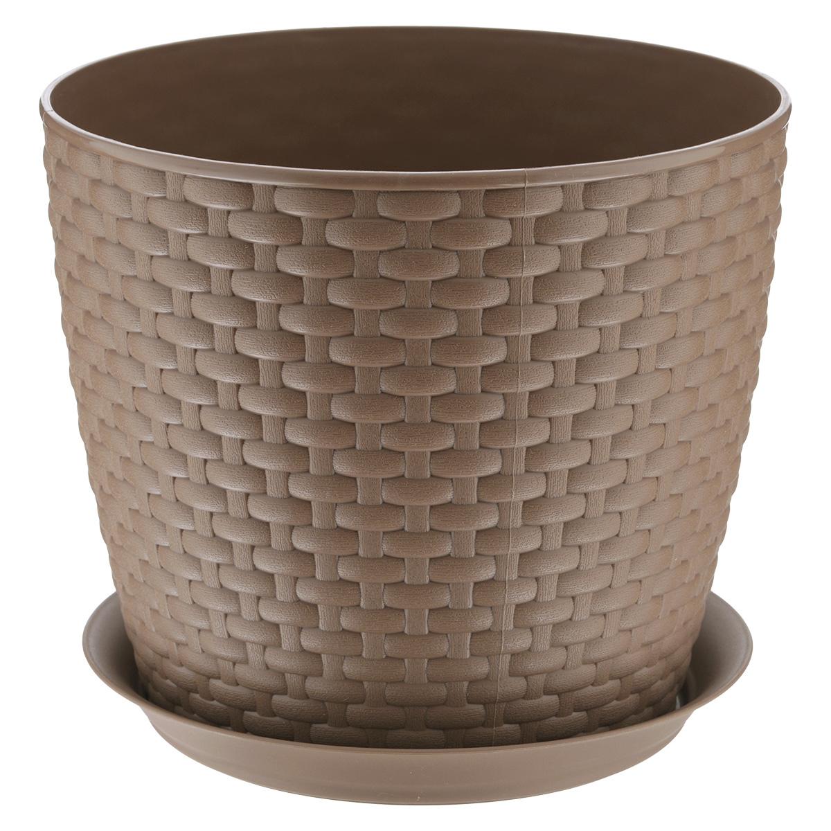 Кашпо Idea Ротанг, с поддоном, цвет: бежевый, 4,7 л531-401Кашпо Idea Ротанг изготовлено из высококачественного пластика. Специальный поддон предназначен для стока воды. Изделие прекрасно подходит для выращивания растений и цветов в домашних условиях. Лаконичный дизайн впишется в интерьер любого помещения. Диаметр поддона: 19,5 см. Объем кашпо: 4,7 л.Диаметр кашпо по верхнему краю: 21 см.Высота кашпо: 18 см.