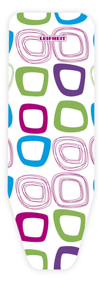 Чехол для гладильной доски Leifheit Cotton Classic L, на защелке, цвет: белый, фиолетовый, голубой, 135 х 45 см. 7232272322_белый/кругиХлопчатобумажный чехол Leifheit Cotton Classic L для гладильной доски с 2-х миллиметровым поролоновым слоем продлит срок службы вашей гладильной доски. Чехол отличается отличной паропроницаемость и имеет стяжной шнур по периметру и зажим, благодаря чему покрытие надежно закрепляется на рабочей поверхности. При выборе чехла учитывайте, что его размер должен быть больше размера покрытия доски минимум на 5 см. Рекомендуется заменять чехол не реже 1 раза в 3 года. Размер чехла: 135 х 45 см.