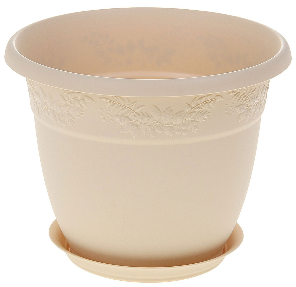 Кашпо Idea Рябина, с поддоном, цвет: белая глина, 3,6 лZ-0307Кашпо Idea Рябина изготовлено из высококачественного полипропилена (пластика). Специальный поддон предназначен для стока воды. Изделие прекрасно подходит для выращивания растений и цветов в домашних условиях. Лаконичный дизайн впишется в интерьер любого помещения. Диаметр поддона: 15 см. Объем кашпо: 3,6 л.Диаметр кашпо по верхнему краю: 22 см.Высота кашпо: 17,5 см.