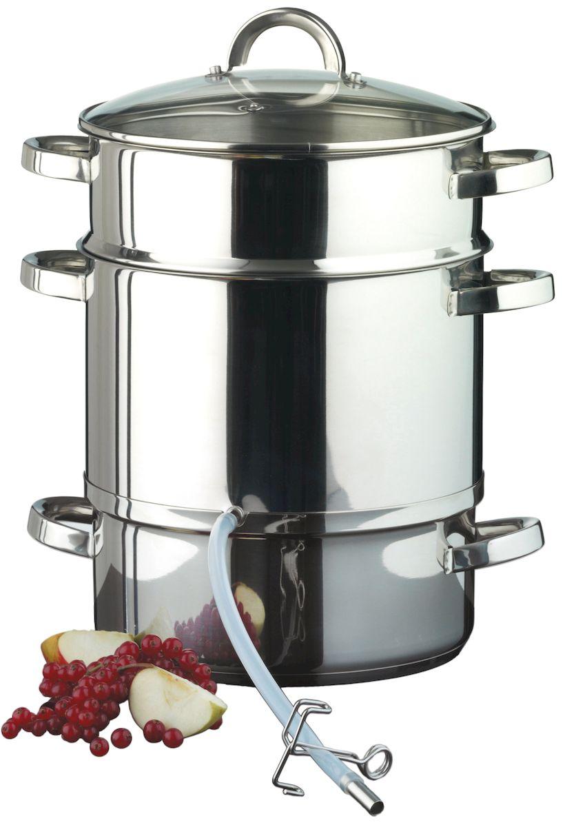 Соковарка Axentia с крышкой, 8 л54 009312Соковарка Axentia, изготовленная из нержавеющей стали, предназначена для бережного приготовления соков из овощей и фруктов. Состоит из контейнера для готового сока, бака для воды, сетчатого фильтра, ударопрочной и жаропрочной стеклянной крышки, силиконовой трубки с фиксатором.Оптимальная теплопроводность позволяет экономить электропотребление при использовании на электрических плитах.Подходит для всех видов плит и варочных панелей, включая индукционные. Можно мыть в посудомоечной машине. Длина силиконовой трубки: 30 см.