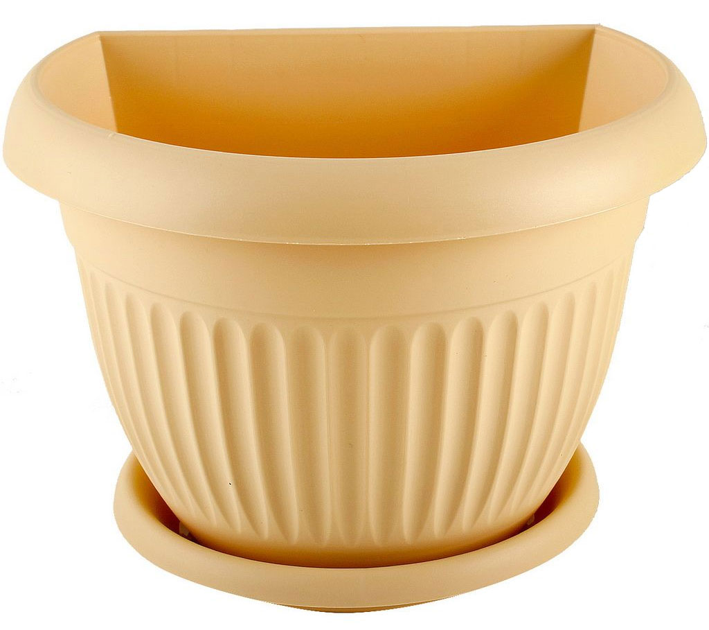 Кашпо настенное Idea Ливия, цвет: белая глина, диаметр 21,5 см4006Настенное кашпо Idea Ливия изготовлено из прочного полипропилена (пластика). Снабжено поддоном для стока воды. Изделие прекрасно подходит для выращивания растений и цветов в домашних условиях. Крепится к стене при помощи двух шурупов (в комплект не входят). Стильный лаконичный дизайн впишется в интерьер любого помещения.