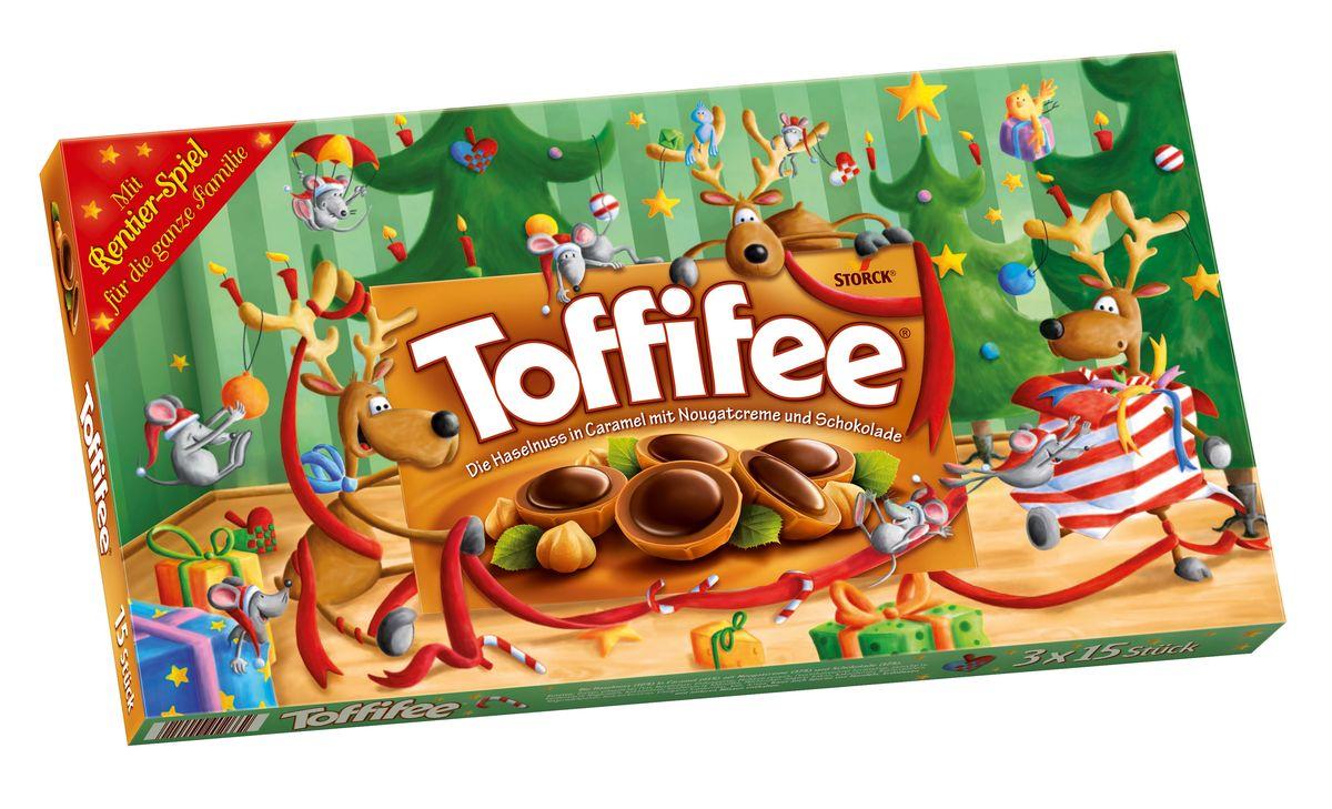 Toffifee Олени конфеты орешки в карамели, 375 г0120710Секрет конфет Toffifee в интересном сочетании вкуснейших ингредиентов: отборный цельный лесной орех в чашечке из мягкой карамели, наполненной нежной кремовой нугой и покрытой восхитительным шоколадом! Toffifee – это невероятно вкусные конфеты, которые понравятся и взрослым, и детям!