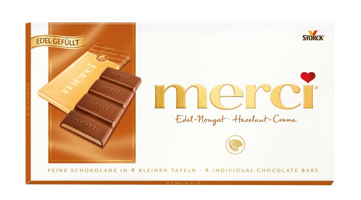 Merci Шоколад с ореховым кремом, 112 г140323Merci шоколадные плитки – это шоколад высочайшего немецкого качества. Оригинальная упаковка в виде конверта содержит четыре изящных индивидуально упакованных плиточки шоколада. Шоколадные плитки Merci представлены в шести вкусах: Молочный шоколад, Горький шоколад, Лесной орех и миндаль, Кофе и сливки, Ореховый крем, Марципан.