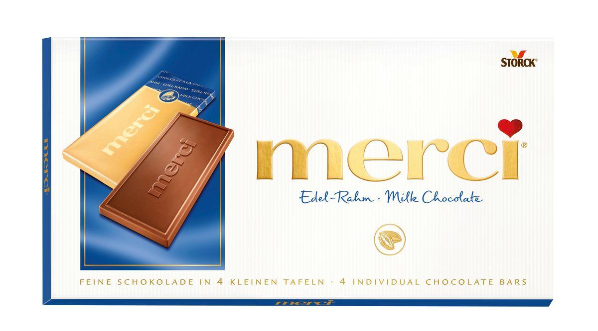 Merci Шоколад молочный, 100 г0120710Merci шоколадные плитки – это шоколад высочайшего немецкого качества. Оригинальная упаковка в виде конверта содержит четыре изящных индивидуально упакованных плиточки шоколада. Шоколадные плитки Merci представлены в шести вкусах: Молочный шоколад, Горький шоколад, Лесной орех и миндаль, Кофе и сливки, Ореховый крем, Марципан.