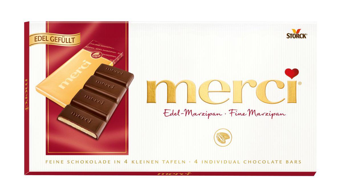 Merci Шоколад c марципаном, 112 г цена 2016