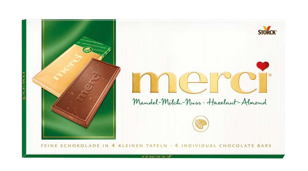 Merci Шоколад лесной орех и миндаль, 100 г0120710Merci шоколадные плитки – это шоколад высочайшего немецкого качества. Оригинальная упаковка в виде конверта содержит четыре изящных индивидуально упакованных плиточки шоколада. Шоколадные плитки Merci представлены в шести вкусах: Молочный шоколад, Горький шоколад, Лесной орех и миндаль, Кофе и сливки, Ореховый крем, Марципан.