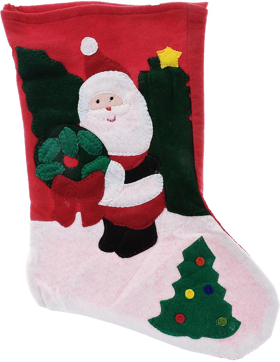 Мешок для подарков Winter Wings Носок. Дед Мороз, цвет: красный, зеленый, белый, 40 х 26 х 1 смN09276Мешок для подарков Winter Wings Носок. Дед Мороз выполнен из полиэстера в виде носка с изображением Деда Мороза. В мешочек можно спрятать подарки. С помощью специальной петельки украшение можно повесить в любом понравившемся вам месте. Новогодние украшения несут в себе волшебство и красоту праздника. Они помогут вам украсить дом к предстоящим праздникам и оживить интерьер по вашему вкусу. Создайте в доме атмосферу тепла, веселья и радости, украшая его всей семьей.