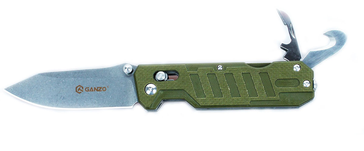 Нож туристический Ganzo, цвет: зеленый, стальной, длина лезвия 8,6 см. G735G735-GRСкладной нож Ganzo будет интересен одновременно и широкому кругу покупателей, и людям, увлекающимся экстремальными видами досуга на природе, а также профессиональным спасателям. Он располагает несколькими дополнительными инструментами, которые существенно расширяют базовую функциональность ножа.Нож с расширенным набором инструментов ориентирован на спасателей и всех любителей экстремальных видов спорта и отдыха на природе. Впрочем, рыбакам и охотникам он тоже будет интересен.Клинок ножа, как и другие инструменты, изготовлен из качественной нержавеющей стали с маркировкой 440С. Это нержавеющая сталь с высоким уровнем антикоррозийных свойств. Твердость закалки сплава составляет +-58HRC. Таким образом, эта сталь долго держит острую заточку режущей кромки и может использоваться в условиях повышенной влажности.Лезвие ножа получило гладкую заточку Plain, которая считается универсальной и подходит практически для любых видов работ. Гладко заточенный нож делает ровные и максимально аккуратные разрезы. Клинок удерживается в выбранном положении за счет встроенного замка Axis-Lock. Это штифтовой механизм, который исключает вариант случайного срабатывания даже в том случае, если нож находится под нагрузкой. Важным моментом является то, что этот замок нужно периодически чистить и не допускать забивания внутрь грязи.Помимо клинка, нож располагает также дополнительными инструментами. В торцевой части рукоятки расположен стеклобой, а кроме того, в нее встроена открывалка для бутылок и консервных банок, с инструментом, который зачищает провода, и резак для веревок, ремней и строп. С их помощью вы легко справитесь с задачами, которые могут возникнуть в чрезвычайной ситуации, а также легче выполните некоторые стандартные виды работ во время пребывания за городом.Рукоятка данной модели ножа такая же практичная и долговечная, как и остальные его детали. Для нее используются накладки из композитного материа