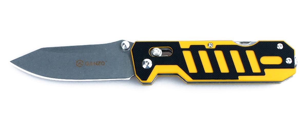 Нож туристический  Ganzo , цвет: черный, желтый, стальной, длина лезвия 8,6 см. G735 - Ножи и мультитулы