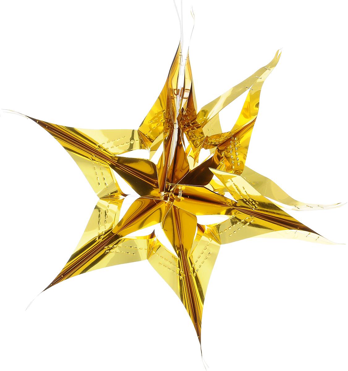 Украшение новогоднее подвесное Winter Wings Звезда, цвет: золотистый, диаметр 30 смN09335Новогоднее украшение Winter Wings Звезда прекрасно подойдет для декора дома и праздничной елки. Изделие выполнено из ПВХ. С помощью специальной петельки украшение можно повесить в любом понравившемся вам месте. Легко складывается и раскладывается.Новогодние украшения несут в себе волшебство и красоту праздника. Они помогут вам украсить дом к предстоящим праздникам и оживить интерьер по вашему вкусу. Создайте в доме атмосферу тепла, веселья и радости, украшая его всей семьей.