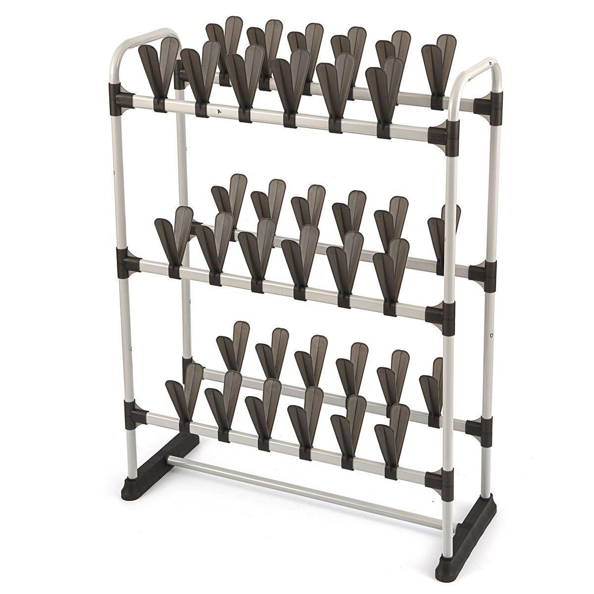 Обувница Homsu, на 36 пар, 73 x 32 x 97 смCLP446Удобная и компактная система хранения рассчитанная на 36 пар обуви. Данная система позволит вам хранить обувь раздельно и очень аккуратно. Благодаря конструкции в два этажа данная система сэкономит место в вашей прихожей, а так же её можно установить в гардеробную или шкаф-купе. Размер изделия:73x32x97см