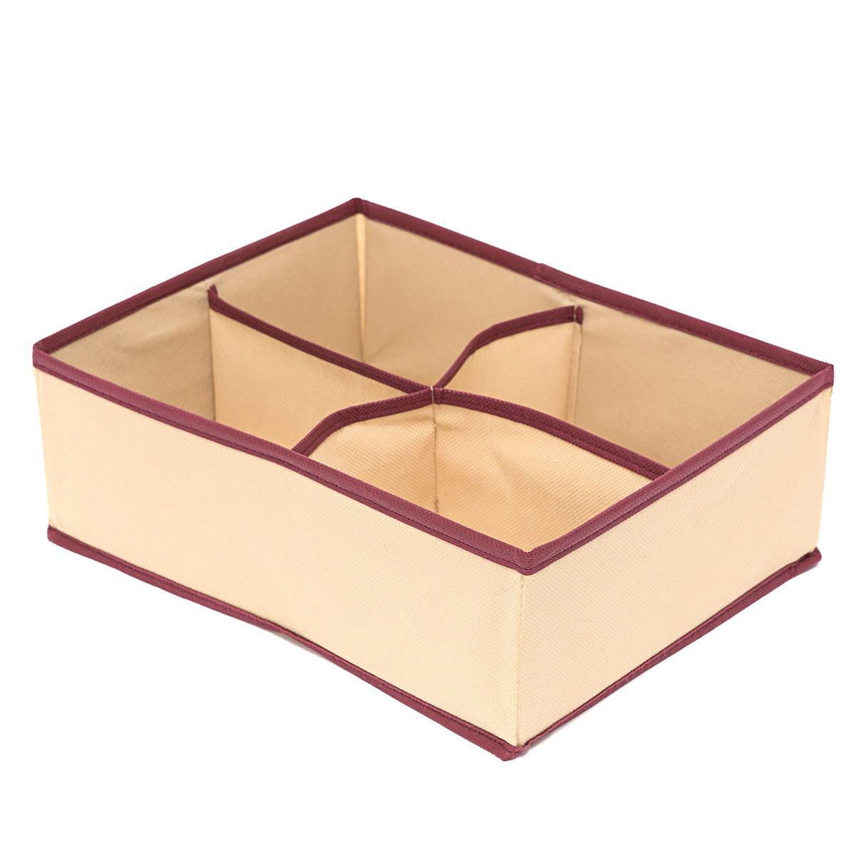 Органайзер Homsu Comfort, 4 секции, цвет: бежевый, 31 x 24 x 11 смS03301004Прямоугольный и плоский органайзер имеет 4 раздельных ячейки, он очень удобен для хранения вещей среднего размера в вашем ящике или на полке. Идеально для белья, шапок, рукавиц и других вещей ежедневного пользования. Имеет жесткие борта, что является гарантией сохранности вещей. Размер изделия:31x24x11см