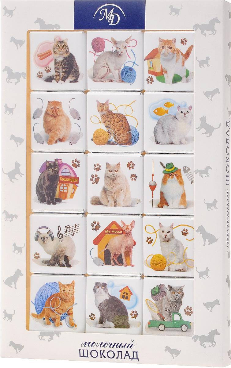 Монетный двор Домашние животные. Кошки набор молочного шоколада, 75 г0120710Шоколадный набор Монетный двор Домашние животные. Кошки - это популярный и любимый всеми сувенир, который идеально подойдет практически для всех праздников. Такой набор составляется из плиток, выполненных из молочного шоколада высшего сорта. Упаковка набора с изображением различных пород кошек станет прекрасным дополнением к подарку или же самостоятельным подарком по любому поводу.
