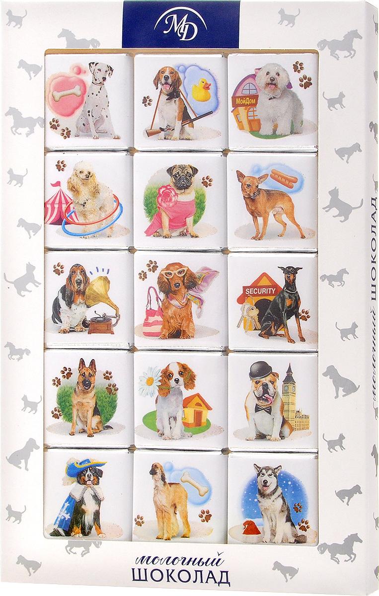 Монетный двор Домашние животные. Собаки набор молочного шоколада, 75 г0120710Шоколадный набор Монетный двор Домашние животные. Собаки - это популярный и любимый всеми сувенир, который идеально подойдет практически для всех праздников. Такой набор составляется из плиток, выполненных из молочного шоколада высшего сорта. Упаковка набора с изображением различных пород собак станет прекрасным дополнением к подарку или же самостоятельным подарком по любому поводу.