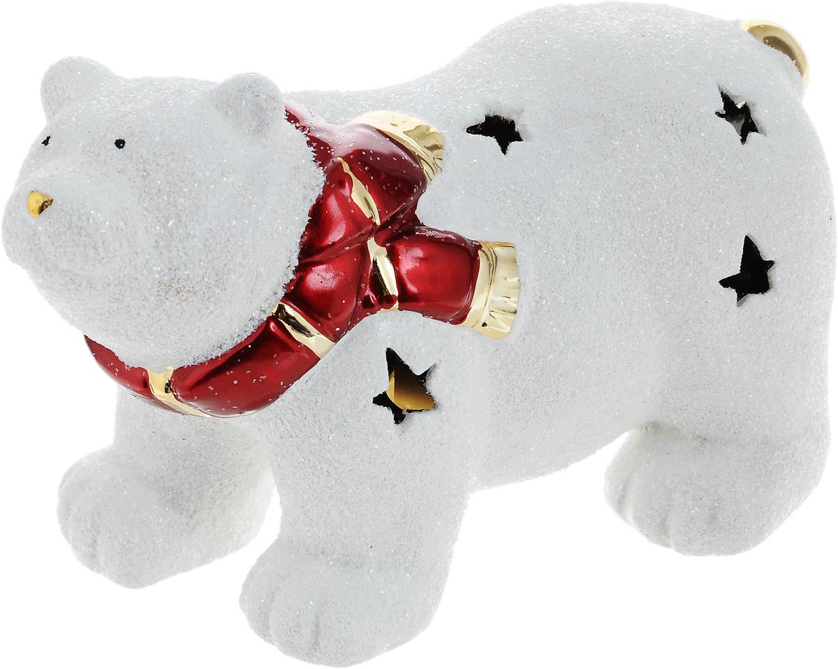 Подсвечник новогодний Winter Wings Мишка полярный в шарфе, 16 х 7 х 10,5 см новогодний декоративный подсвечник winter wings домик со свечой цвет белый красный 6 см х 8 см х 11 см