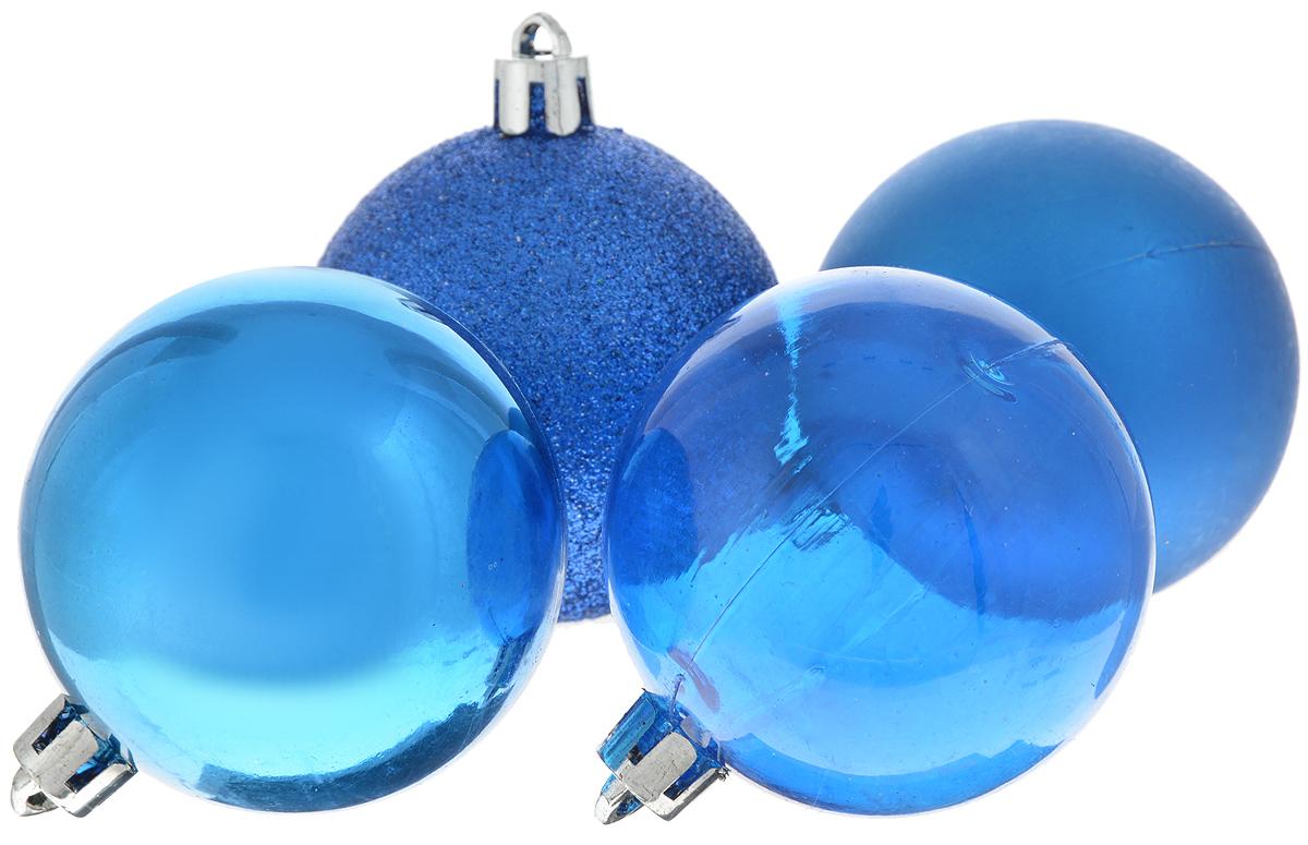 Набор новогодних подвесных украшений Winter Wings Шары, цвет: синий, диаметр 5,5 см, 4 штS28 DCНабор подвесных украшений Winter Wings Шары прекрасно подойдет для праздничного декора новогодней ели. Набор состоит из 4 пластиковых украшений в виде шаров. 1 шар прозрачный, 1 глянцевый, 1 матовый и 1 покрыт блестками. Для удобного размещения на елке для каждого украшения предусмотрено отверстие для петельки. Елочная игрушка - символ Нового года. Она несет в себе волшебство и красоту праздника. Создайте в своем доме атмосферу веселья и радости, украшая новогоднюю елку нарядными игрушками, которые будут из года в год накапливать теплоту воспоминаний. Откройте для себя удивительный мир сказок и грез. Почувствуйте волшебные минуты ожидания праздника, создайте новогоднее настроение вашим дорогим и близким.
