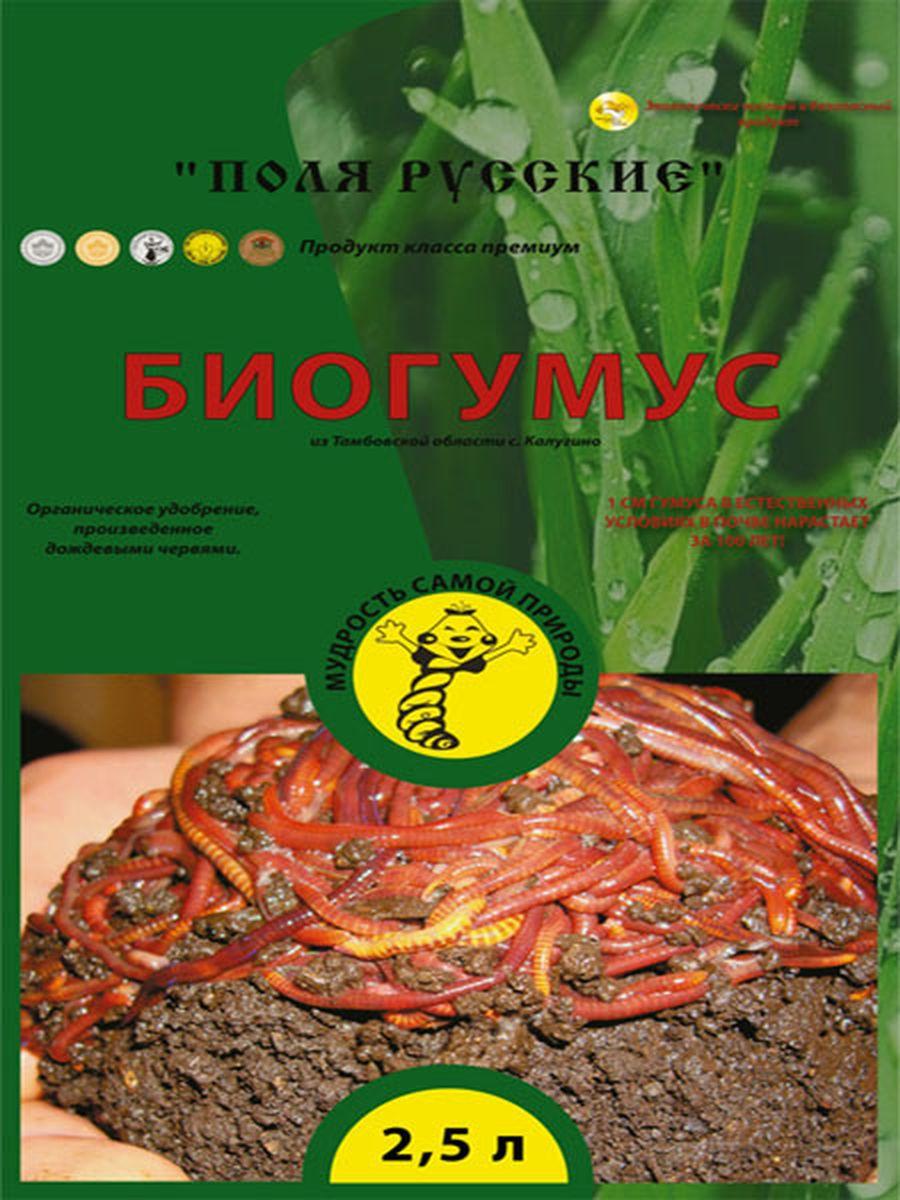 Удобрение Поля Русские Биогумус, 2,5 л391602Поля Русские Биогумус или вермикомпост (переработанный подстилочный навоз КРС дождевыми червями) является наилучшим органическим удобрением для почвы. Органические материалы проходят более полную переработку в желудке червей, подвергаются глубоким структурным изменениям, разлагаются до аминокислот, обогащаются чрезвычайно полезной микрофлорой из кишечника червей, ферментами, витаминами, другими биологически активными веществами, которые подавляют болезнетворную микрофлору. При этом органическая масса теряет запах, обеззараживается, приобретает гранулярную форму и приятный запах земли.Биогумус превосходит навоз и компосты по содержанию гумуса в 4-8 раз. Он содержит большое количество ферментов, витаминов, почвенных антибиотиков, гормонов роста растений и других биологически активных веществ. Продолжительность действия биогумуса более 5 лет. В отличие от навоза биогумус не обладает инертностью - растения реагируют сразу на него. При использовании биогумуса вегетационный период у растений сокращается на 1,5-2 недели.