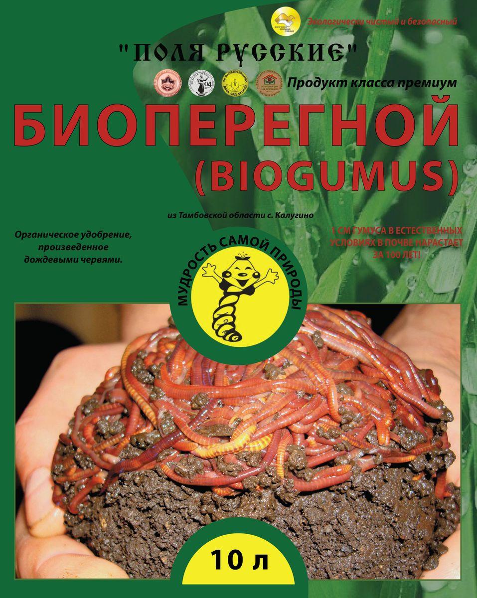 Удобрение Поля Русские Биогумус, 10 л68610_4Поля Русские Биогумус органическое удобрение.Превосходит навоз и компосты по содержанию гумуса в 4-8 раз. Он содержит большое количество ферментов, витаминов, почвенных антибиотиков, гормонов роста растений и других биологически активных веществ. Продолжительность действия биогумуса более 5 лет. В отличие от навоза биогумус не обладает инертностью - растения реагируют сразу на него. При использовании биогумуса вегетационный период у растений сокращается на 1,5-2 недели.