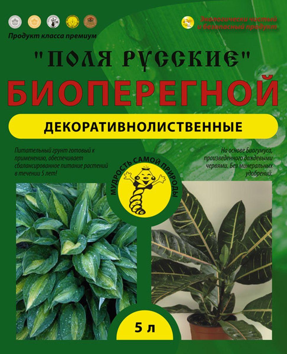 Питательный грунт Поля Русские Биоперегной, для декоративно-лиственных растений, 5 лBH0429_белыйПоля РусскиеПитательный грунт Декоративно лиственные  - это уникальное сочетание экологически чистых органических питательных веществ в доступной для растений форме.Предназначен для выращивания большинства видов декоративнолиственных растений (бересклет, диффенбахия, драцена, кодиеум, колеус, колотея, комус, кордилины, кротон, пеллония, пилея, циперус, шефлера, юкка, различные кустарники и другие), предпочитающих нейтральную почву, в условиях открытого и защищенного грунта. Содержащиеся в питательном грунте биогумус стимулируют корнеобразование и приживаемость растений, повышают их устойчивость к заболеваниям, к стрессовым условиям произрастания и придают листьям сочные и насыщенные цвета. Агроперлит делает почву рыхлой, воздухопроницаемой, предохраняет растения от избытка влаги и способствует развитию мощной корневой системы. Систематическое применение грунта улучшает структуру почвы, увеличивает содержания в ней гумуса. Эффективен на всех типах почв, в т.ч. на песчаных, тяжелых и переувлажненных. Обладает пролонгирующим действием, эффективность грунта в почве сохраняется более 5 лет.
