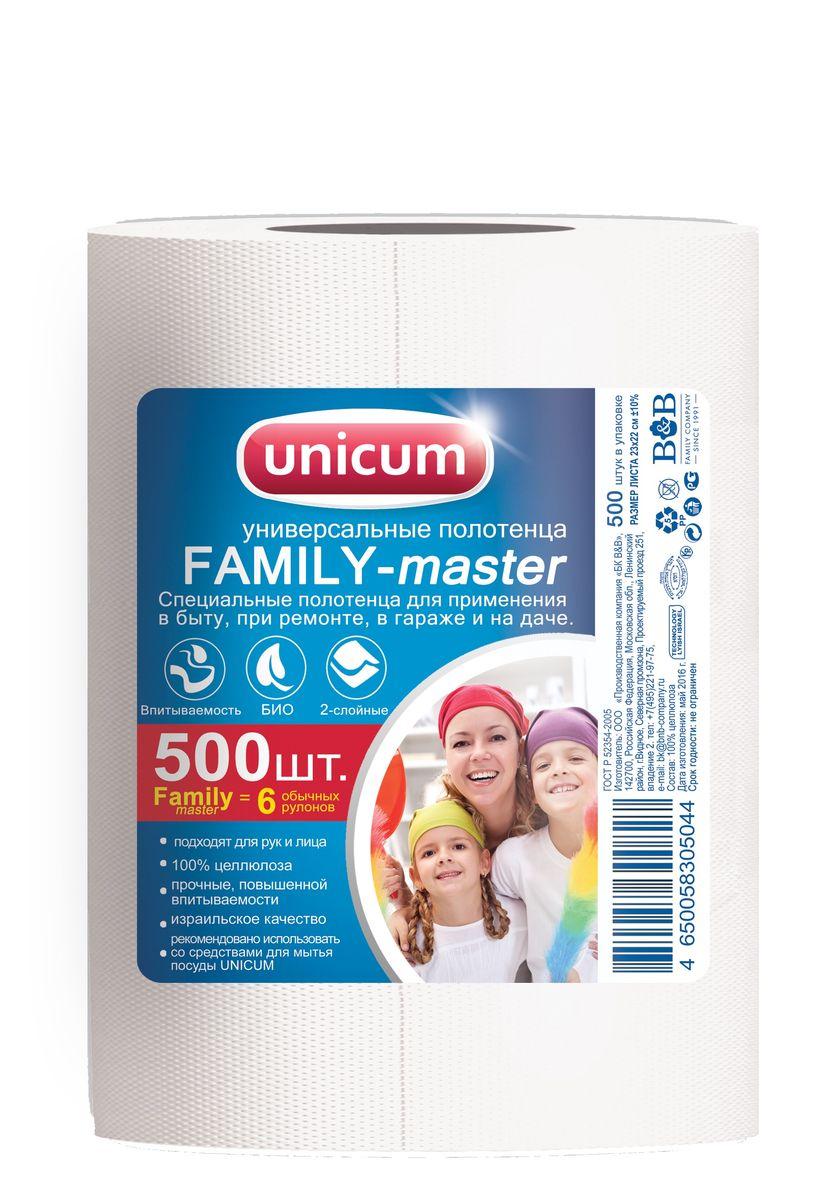 Полотенца бумажные Unicum Family-Master, 500 шт787502Двухслойные бумажные полотенца Unicum Family-Master, выполненные из 100% целлюлозы, подходят для рук и лица. Прочные, обладают повышенной впитываемостью. Бумажные полотенца Unicum Family-Master идеально впитывают воду, жир, не оставляют разводов. Незаменимы для повседневного использования. Количество в рулоне: 500.