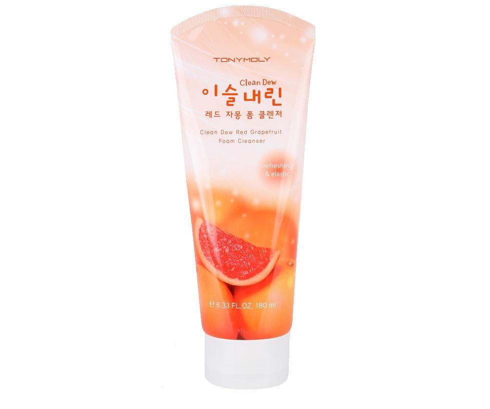 TonyMoly Пенка для умывания с экстрактом грейпфрута Clean Dew Red Grape Fruit Foam Cleanser, 180 млFS-00897Густая воздушная пенка в качестве основного активного компонента содержит экстракт красного грейпфрута, который увлажняет кожу, повышает её тонус. Насыщает витаминами, способствует эффективному очищению от всех видов загрязнений, декоративной косметики и уходовых средств. Благодаря мельчайшим пузырькам кислорода она производит нежный и мягкий микромассаж кожи, эффективно и деликатно отшелушивает ороговевшие клетки кожи.Экстракт грейпфрута обладает выраженным тонизирующим эффектом, снижает выделения кожного жира, поэтому особенно рекомендуется для жирной кожи. Средство для умывания помогает бороться с угревой сыпью, продукт содержит витамины Р и С, которые стимулирую восстановление и образование новых клеток, борются с преждевременным старением, улучшают иммунитет кожи.Экстракт грейпфрута обладает отбеливающими свойствами, осветляет пигментные пятна, делает тон лица более ровным.Пенку Clean Dew Red GrapeFruit Foam Cleanser? можно использовать для всех типов кожи.