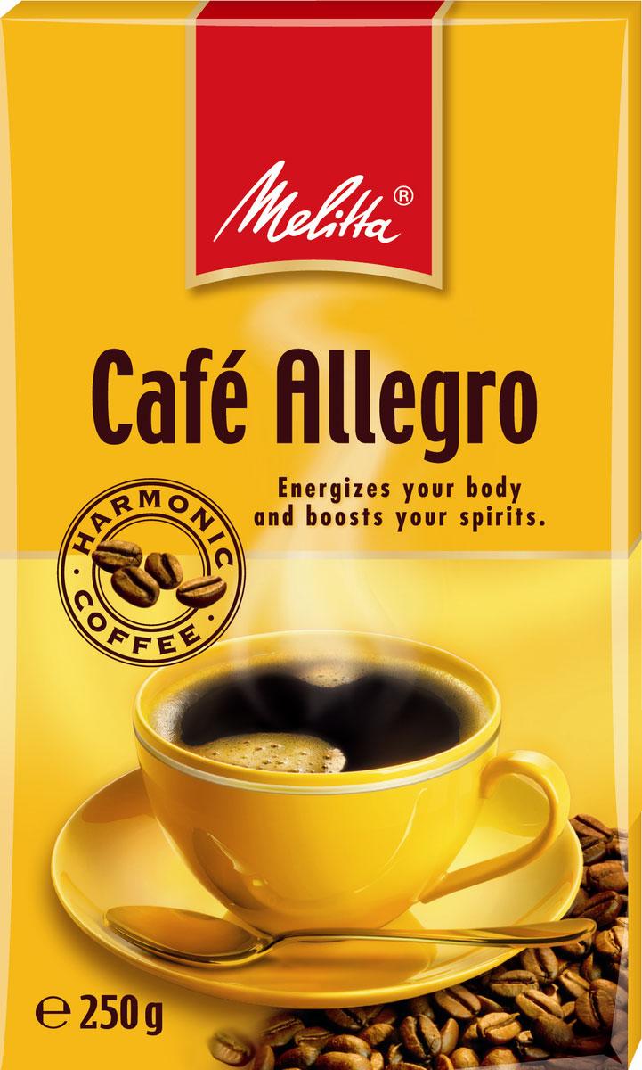 Melitta Allegro кофе молотый, 250 г464528Крепкий и бодрящий кофе, насыщенный вкус и аромат. Особо тонкий помол идеален для турки, подходит для любого способа приготовления, в том числе для кофеварок и кофемашин.