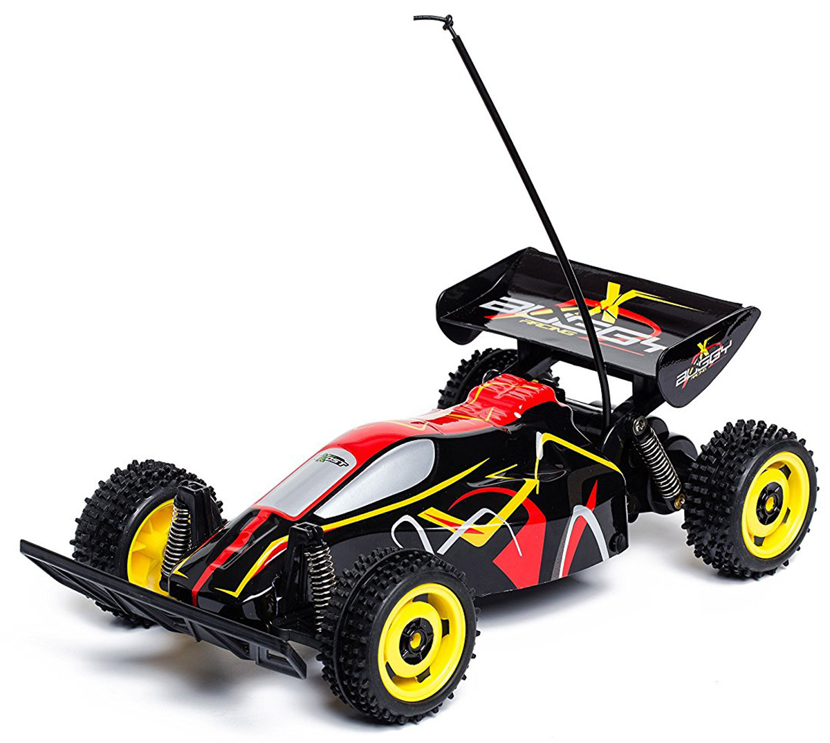 """Машинка на радиоуправлении Silverlit """"Buggy Racing"""" обязательно доставит мальчику море удовольствия, ведь он сможет управлять собственной гоночной машиной. Гоночный багги в масштабе 1:18 может разгоняться до 9 км/ч. Радиус действия пульта управления - до 25 метров. Пульт управления автомобилем пистолетного типа, его удобно держать в одной руке. Рулевое колесо управляет направлением движения модели, а курок - ее двигателем и тормозами. Для работы машины необходимы 4 батарейки типа АА напряжением 1,5V (товар комплектуется демонстрационными). Для работы пульта управления необходимы 2 батарейки типа АА напряжением 1,5V (товар комплектуется демонстрационными)."""