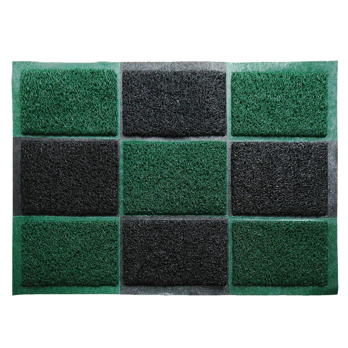 Коврик придверный Vortex, пористый, цвет: черный, зеленый, 40 х 60 см22406Придверный влаговпитывающий коврик Vortex черно-зеленого цвета выполнен из ПВХ и полиэстера. Он прост в обслуживании, прочный и устойчивый к различным погодным условиям. Лицевая сторона коврика ребристая. Прорезиненная основа коврика предотвращает его скольжение по гладкой поверхности и обеспечивает надежную фиксацию. Такой коврик надежно защитит помещение от уличной пыли и грязи