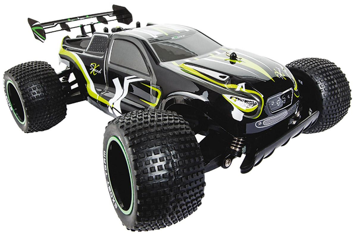"""Машинка на радиоуправлении Silverlit """"XSpeed 2"""" больше всего подходит для дрифта на асфальте или ралли по укатанному грунту. Благодаря усиленному каркасу может ездить и по бездорожью. Развивает скорость до 15 км/ч. Четкие широкие протекторы и мягкая подвеска позволяют игрушечному автомобилю держать сцепление с дорогой и плавно входить в повороты. Радиоуправляемая модель """"XSpeed"""" 2 отличается внушительным размером, ее длина составляет 35 см, масштаб 1:10. Это сверхбыстрая багги размера XXL, а значит запускать ее следует на больших открытых площадках, где мало прохожих. Машина работает от сменного аккумулятора (в комплекте). Для работы пульта управления необходимы 2 батарейки типа АА напряжением 1,5V (товар комплектуется демонстрационными)."""