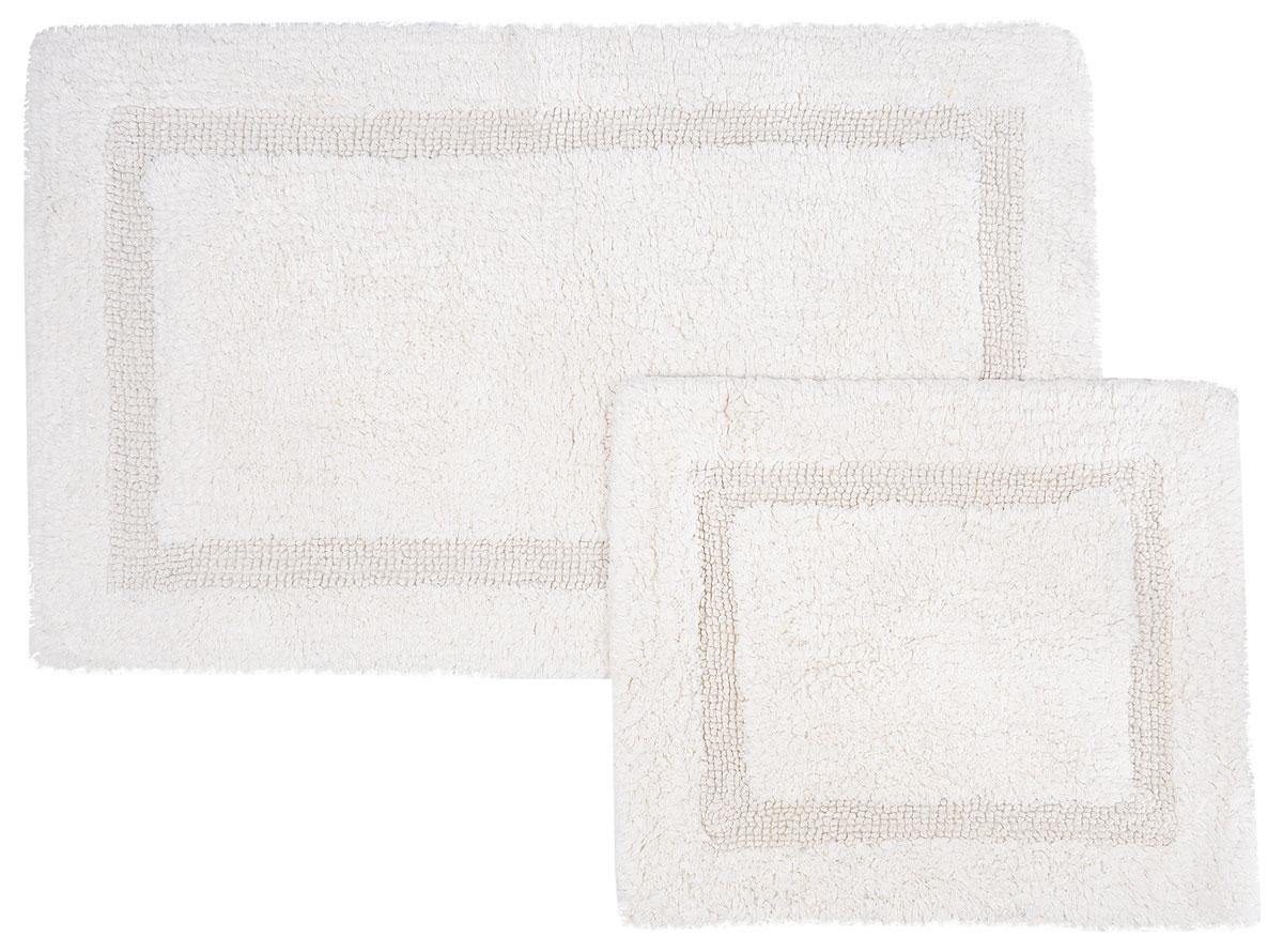 Набор ковриков для ванной Modalin Karla, цвет: кремовый, 2 шт4658Набор Modalin Karla, выполненный из высококачественного хлопка, состоит из двух ковриков для ванной комнаты. Изделия добавят тепло и уют, а также внесут неповторимый колорит в интерьер ванной комнаты. Высокая износостойкость ковриков и стойкость цвета позволит вам наслаждаться покупкой долгие годы. Размер большего коврика: 60 х 100 см.Размер малого коврика: 60 х 50 см.
