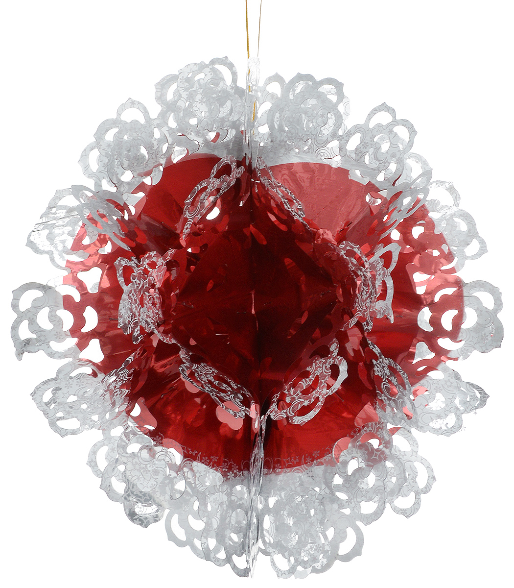 Гирлянда новогодняя Magic Time Шар ажурный красно-белый, 26 x 13 смNLED-454-9W-BKНовогодняя гирлянда Magic Time Шар ажурный красно-белый прекрасно подойдет для декора дома. Украшение выполнено из ПЭТ. С помощью специальной петельки гирлянду можно повесить в любом понравившемся вам месте. Легко складывается и раскладывается.Новогодние украшения несут в себе волшебство и красоту праздника. Они помогут вам украсить дом к предстоящим праздникам и оживить интерьер по вашему вкусу. Создайте в доме атмосферу тепла, веселья и радости, украшая его всей семьей.