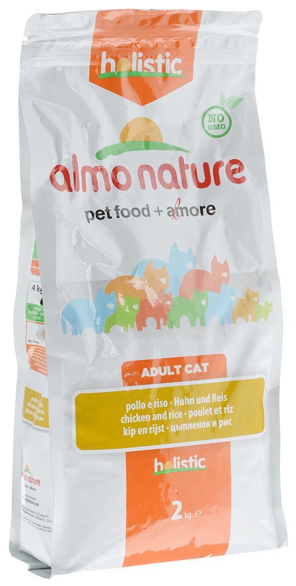 Корм сухой Almo Nature для взрослых кошек, с цыпленком и рисом, 2 кг0120710Корм Almo Nature, предназначенный для взрослых кошек, содержит большой процент свежего мяса, что обеспечивает необходимое количество питательных веществ и оптимальное содержанием протеина. Корм создан для самых привередливых кошек. Прекрасный вкус обеспечивается за счет свежих натуральных ингредиентов. Корм сохраняет свои свойства за счет натуральных антиоксидантов. Не содержит искусственных добавок, красителей, ароматизаторов, консервантов. Оптимальное количество калорий способствует сохранению нормального веса.Товар сертифицирован.