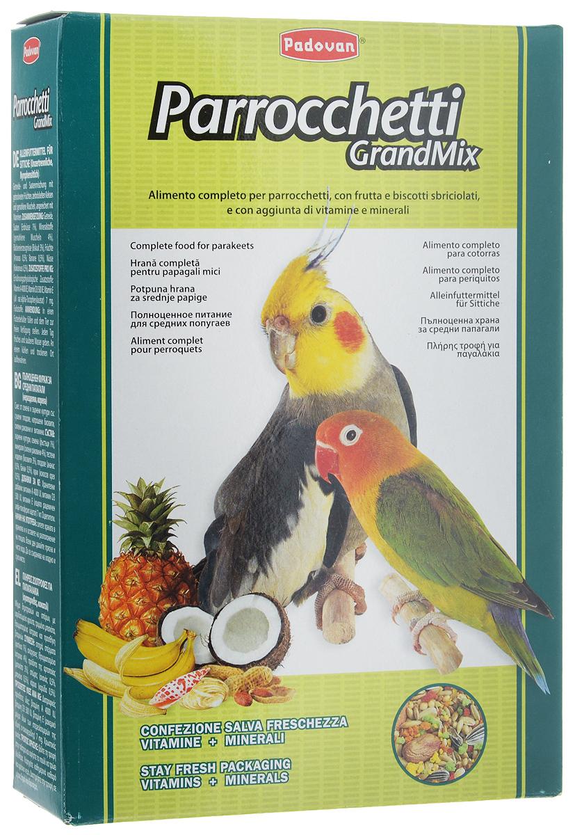 Корм для средних попугаев Padovan Parrocchetti GrandMix, 850 г19669Корм Padovan Parrocchetti GrandMix - это комплексный высококачественный основной корм для средних попугаев (неразлучники, кареллы и другие). Корм имеет в составе смесь зерен и семян с сушеными фруктами, раскрошенным печеньем и измельченными ракушками, а также витаминные добавки. Товар сертифицирован.