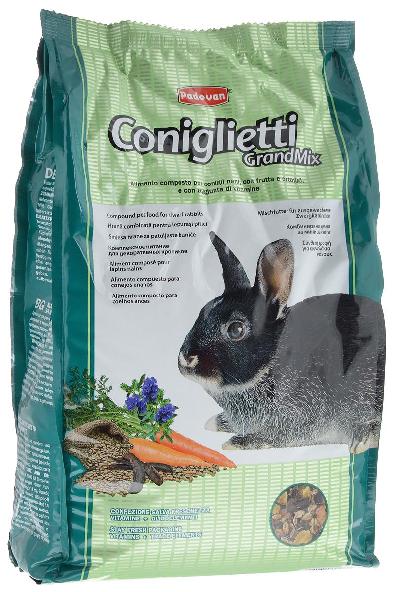 Корм для кроликов Padovan Grandmix Coniglietti, 3 кг0120710Padovan Grandmix Coniglietti - комплексный, высококачественный основной корм для кроликов. Обогащен фруктами и овощами, витаминами и минералами. Корм предназначен для повседневного питания кроликов (особенно для кроликов карликовых пород). Питательная смесь из самых лучших злаков позаботится о запасе энергии для вашего любимца на каждый день, а полезные овощи и фрукты подарят все незаменимые витамины и микроэлементы, которые укрепят иммунную систему и помогут всему организму любимца оставаться здоровым и молодым как можно дольше. А природные масла сделают шерстку кролика еще мягче и эластичнее.Товар сертифицирован.