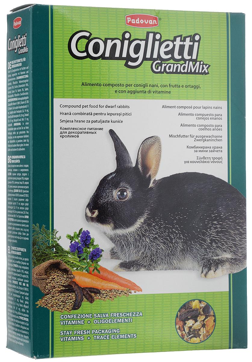 Корм для кроликов Padovan Grandmix Coniglietti, 850 г0120710Padovan Grandmix Coniglietti - комплексный, высококачественный основной корм для кроликов. Обогащен фруктами и овощами, витаминами и минералами. Корм предназначен для повседневного питания кроликов (особенно для кроликов карликовых пород). Питательная смесь из самых лучших злаков позаботится о запасе энергии для вашего любимца на каждый день, а полезные овощи и фрукты подарят все незаменимые витамины и микроэлементы, которые укрепят иммунную систему и помогут всему организму любимца оставаться здоровым и молодым как можно дольше. А природные масла сделают шерстку кролика еще мягче и эластичнее.Товар сертифицирован.