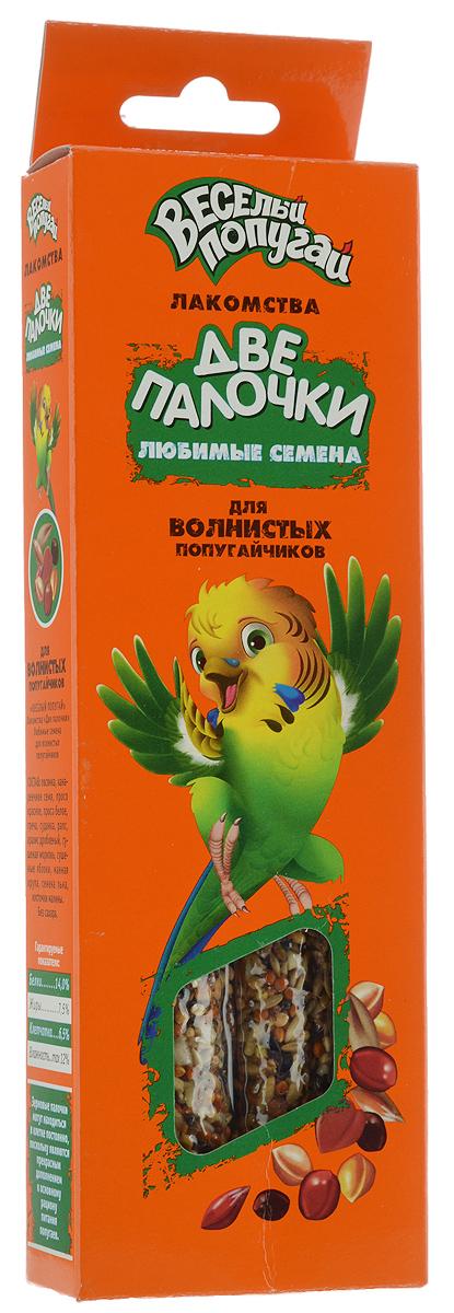 Лакомство для волнистых попугайчиков Веселый попугай Две Палочки, любимые семена, 70 г, 2 шт0120710Веселый попугай Две Палочки - потрясающие лакомства для волнистых попугайчиков. Две Палочки упакованы в дополнительную упаковку, которая дольше и надежнее сохраняет лакомства и защищает их от проникновения всяких вредителей. Кроме того, они имеют удобное крепление, которое позволяет легко, быстро и надежно закрепить палочку на прутьях клетки. На них гораздо больше вкусностей благодаря тонкой деревянной палочке. Лакомства Веселый попугай Две Палочки - это не только вкусная игрушка для пернатого друга, но и полезная работа для клюва.Товар сертифицирован.
