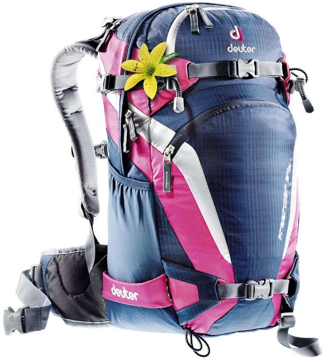 Рюкзак спортивный женский Deuter Freerider, цвет: синий, фуксия, 24 л95767-962-00Новый Freerider для райдеров, которые хотят иметь рюкзак на все случаи жизни для катания в сноупарке, по трассам и вне трасс.Загруженный, он удобно сидит на спине, обеспечивает легкий доступ к лавинному снаряжению.Характеристики:- удобные, гибкие неопреновые крылья пояса могут быть убраны в городе; - прямой доступ к основному отделению; - большое отделение для лавинной лопаты на фронтальной части; - отделение для лавинного зонда; - 3 кармана на молнии внутри и 1 карман на молнии в верхней части; - съемная неопреновая сидушка внутри; - отделение для мокрых вещей; - компрессионные ремни сбоку; - две петли для ледоруба, которые могут быть убраны; - сноуборд и снегоступы могут быть прикреплены в вертикальном положении; - лыжи можно переносит с креплением по центру или по бокам; - SOS лейбл; - эластичные боковые карманы; - совместим с питьевой системой; - свисток на пряжке грудного ремня. Материал: Polytex/Ballistic.Вес: 1250 грамм.Объём 24 литров. Размеры: 52 x 28 x 16 см.