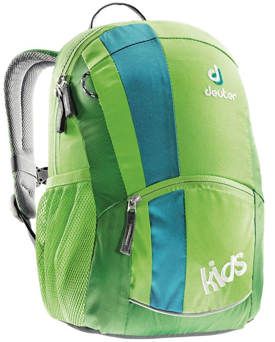 Рюкзак детский Deuter Kids, цвет: зеленый, 12 лBP-001 BKЭтот маленький рюкзачок Deuter Kids доставит много радости во время прогулки. Веселая цветовая гамма обрадует любых девчонок и мальчишек от 3 лет и старше.Особенности: Мягкая спинка; S-образные плечевые лямки с мягкими краями; Боковые сетчатые карманы; Именная бирка внутри; Отражатель 3M спереди и на переднем кармане с молнией для безопасности; Потайной карманчик на молнии сверху; Петли для пристежки разных мелочей. Материал: SuperPolytex. Вес: 300 г. Объем: 12 л. Размеры: 36 x 22 x 18 см.